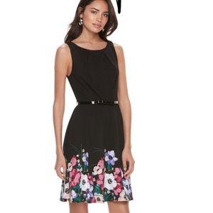 Elle NWT Black Floral Print Summer Dress XS
